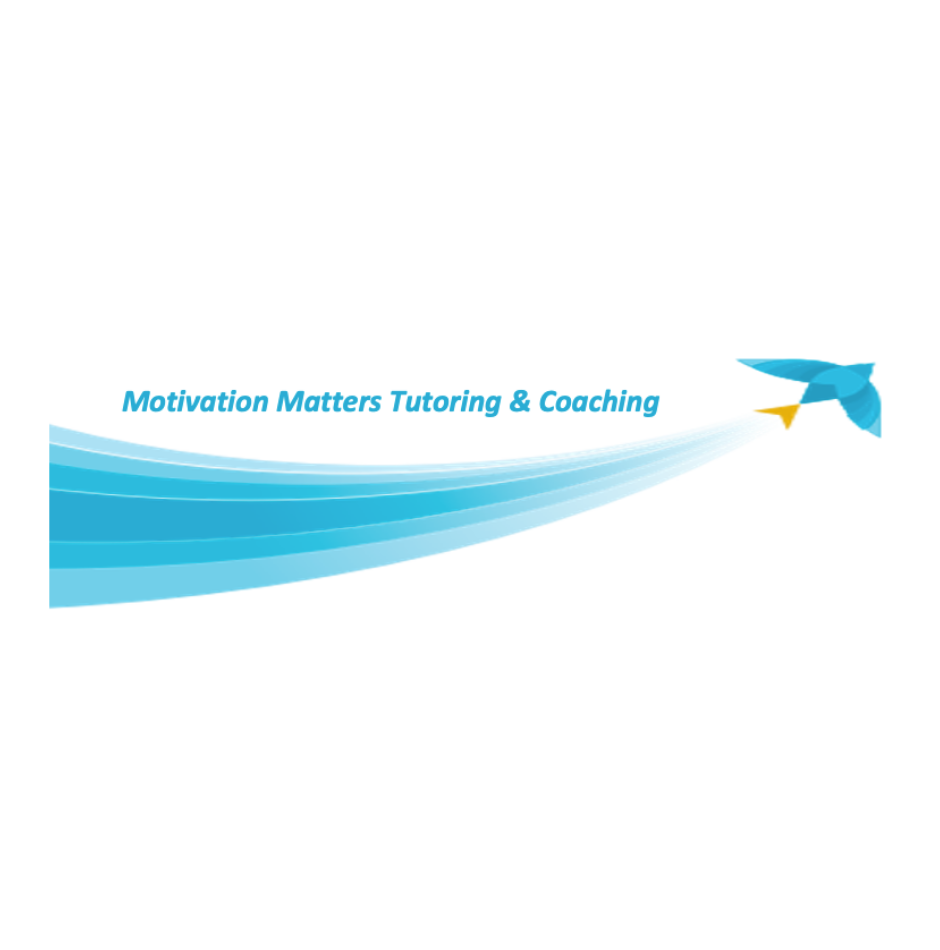 Startup Logo Motivation Matters Tutoring and Coaching. The colors are blue and white with a drawling of a blue bird flying
